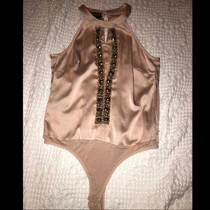 Bebe Gorgeous silky size M beaded bodysuit low cut